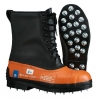 Viking Black Tusk Chainsaw  Boots: Leather Top/Rubber Bottom/Caulked Sole - Size 9 (Clearance Sale)